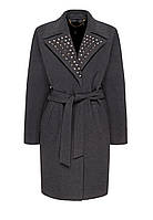 Удлиненное пальто с металлизированной отделкой, цвет темно-серый меланж