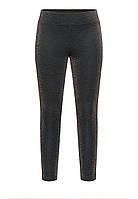 Узкие трикотажные брюки с люрексом для девочки, цвет черный