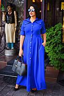"""Женское длинное платье в больших размерах 311 """"Креп Стиль Сафари"""" в расцветках"""