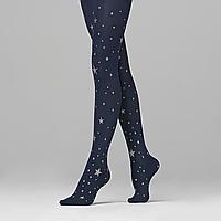 Колготки детские с принтом «Звезды», плотность 50 den, цвет темно-синий