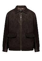 Утепленная куртка из экокожи для мужчины, цвет темно-коричневый