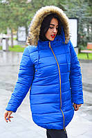 """Женское зимнее пальто на синтепоне в больших размерах 8089-2 """"Капюшон Мех"""" в расцветках"""