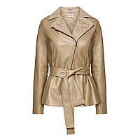 Куртка из экокожи с кружевом, цвет пудровый