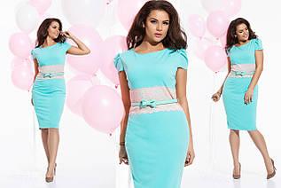 """Элегантное женское платье в больших размерах 1053 """"Креп Пояс Кружево"""" в расцветках"""