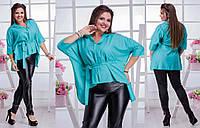 """Женская стильная блуза в больших размерах 3260 """"Штапель Кимоно Пояс"""" в расцветках"""