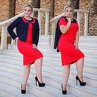 """Женский элегантный комплект платье + пиджак в больших размерах """"Эсмеральда"""" в расцветках"""