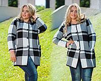 """Женское стильное вязанное короткое пальто в больших размерах 2007 """"Клетка Контраст"""""""