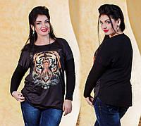 """Женская стильная трикотажная туника в больших размерах """"Тигр"""""""