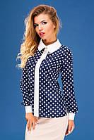 """Женская стильная шифоновая блуза в больших размерах """"Воротничок Планка Манжеты Горох"""" в расцветках"""