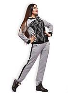 """Женский стильный спортивный костюм в больших размерах """"Гипюр Лампасы"""""""
