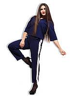 """Женский стильный костюм с брючками до больших размеров """"Лампасы Креп"""" в расцветках"""