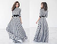 """Элегантное длинное женское платье 1044 """"Клетка Макси Бант"""""""