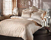 Комплект постельного белья Tivolyo Home жаккард BAMBURA Бежевый евро