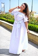"""Длинное летнее женское платье в больших размерах 8036 """"Прошва Фонарик Макси"""" в расцветках"""