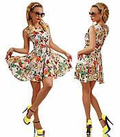 """Стильное короткое женское летнее платье """"Штапель Клёш Цветы"""" в расцветках"""