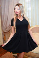 """Стильное женское короткое платье 288 """"Трикотаж Клёш Складки"""" в расцветках"""