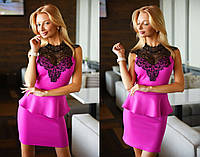"""Элегантное короткое женское платье 2059 """"Баска Макраме"""" в расцветках"""
