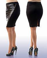 """Стильная женская юбка в больших размерах 023 """"Кожа Змейка Диагональ"""""""