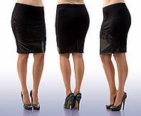 """Стильная женская юбка в больших размерах 020 """"Кожа Макраме"""""""