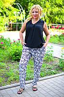 """Летние женские брюки в больших размерах 8040 """"Штапель Турецкие Огурцы Мелкие"""" в расцветках"""