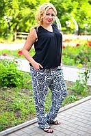 """Летние женские брюки в больших размерах 8040 """"Штапель Турецкие Огурцы"""" в расцветках"""