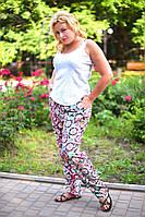 """Летние женские брюки в больших размерах 8040 """"Штапель Орнамент"""" в расцветках"""