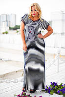 """Женское длинное платье полоска в больших размерах 8048 """"Принт Фото"""" в расцветках"""