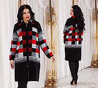 """Женское демисезонное вязанное пальто в больших размерах 2041 """"Клетка Купон"""" в расцветках"""
