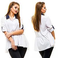 """Стильная женская блуза в больших размерах 5004 """"Оборка Воротничок Контраст"""" в расцветках"""