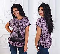 """Стильная женская футболка в больших размерах 2822 """"Fashion is Paris"""""""