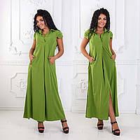 """Женское стильное длинное платье до больших размеров 1148 """"Креп Макси Разрез Кармашки"""" в расцветках"""