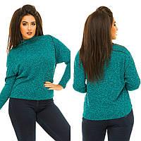 """Женский стильный свитерок в больших размерах 1079 """"Меланж Летучая Мышь"""" в расцветках"""