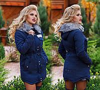 Тёплая женская куртка-парка на меху до больших размеров 825 в расцветках