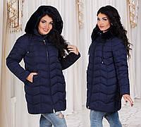 Тёплая зимняя женская куртка холлофайбер в больших размерах 7088 в расцветках