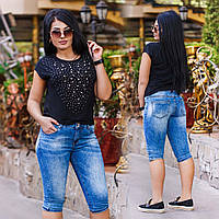 Женские джинсовые бриджи стрейч в больших размерах 10137