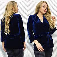 """Женский стильный пиджак-кардиган в больших размерах 516-1 """"Бархат Кармашки Пояс"""" в расцветках"""