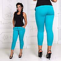 Женские летние джинсовые капри до больших размеров 4654 в расцветках