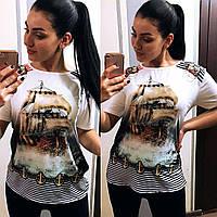 """Женская стильная футболка в больших размерах 4647 """"Парусник"""""""