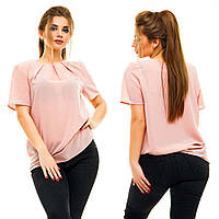 """Летняя женская блуза в больших размерах 5007 """"Креп Складки Вырез"""" в расцветках"""