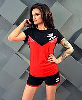 """Женский стильный спортивный костюм с шортами в больших размерах 5031 """"ADIDAS"""""""