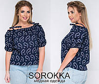 """Летняя женская блузка в больших размерах 192 """"Прошва Огурцы Плечи Завязки"""" в расцветках"""