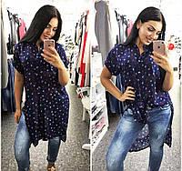 """Женская летняя рубашка-туника в больших размерах 1147 """"Шифон Якоря Разрезы"""""""