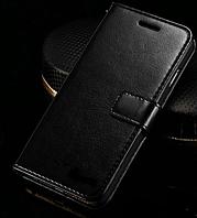 Кожаный чехол-книжка для iPhone 7 черный