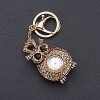 """Брелок часы женский """"Винтажная Сова"""" цвет металла """"старое золото""""  d-4 см"""