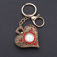 """Брелок часы женский """"Винтажное сердце """" цвет металла """"серебро"""" d-4 см"""