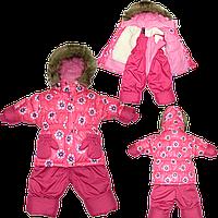 Детский зимний термокомбинезон: штаны и куртка на флисе и отстегивающейся овчине, р. 80, 86, 92, 98