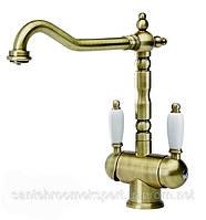 Смеситель кухонный для питьевой воды бронза Blue Water Ricanati
