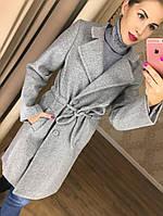 Стильное женское осеннее пальто до колена (серый и черный )