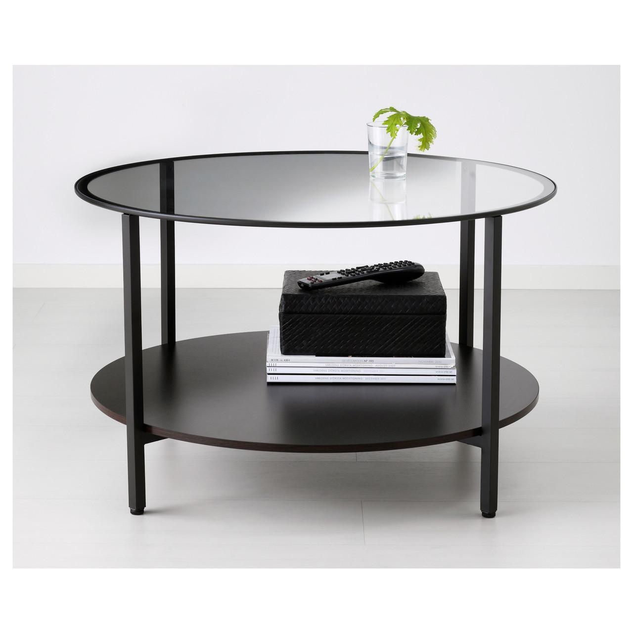 журнальный стол Ikea Vittsjö стеклянный черно коричневый 80213309