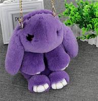 Меховая сумка-рюкзак в виде зайчика фиолетовая